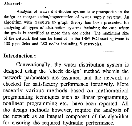 Graph Theoretic Approach To The Analysis Of Water Distribution System